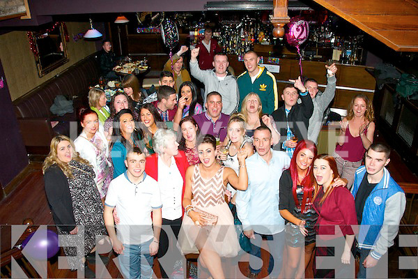Kayleigh Muntzer,Oakpark,Tralee ( seated centre ) had a fab time celebrating her 21st birthday last Saturday night in the 'Night Jar' the Square, Tralee,surrounded by many friends and family.