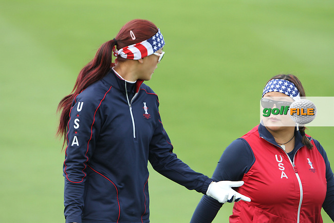 Christina Kim (USA) and Michelle Wei (USA) on Thursday, the third practice day at the 2011 Solheim Cup at Killeen Castle, Co. Meath, Ireland..Photo Golffile/Jenny Matthews.(Photo credit should read Jenny Matthews www.golffile.ie)....This Picture has been sent you under the conditions enclosed by:.Newsfile Ltd..The Studio,.Millmount Abbey,.Drogheda,.Co Meath..Ireland..Tel: +353(0)41-9871240.Fax: +353(0)41-9871260.GSM: +353(0)86-2500958.email: pictures@newsfile.ie.www.newsfile.ie.