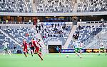 Stockholm 2014-05-04 Fotboll Superettan Hammarby IF - IFK V&auml;rnamo :  <br /> Vy &ouml;ver planen i Tele2 Arena under matchen med V&auml;rnamos supportrar p&aring; l&auml;ktaren med tomma sektioner<br /> (Foto: Kenta J&ouml;nsson) Nyckelord:  Superettan Tele2 Arena Hammarby HIF Bajen V&auml;rnamo  supporter fans publik supporters inomhus interi&ouml;r interior