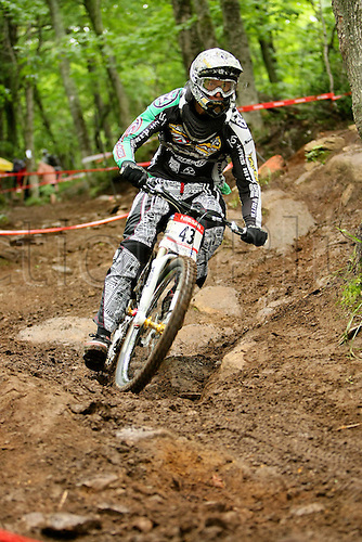 25 JULY 2009: Pierre Charles Georges from FRA in action during the Nissan Mountain Bike World Cup Downhill Men Finals at the Mont-Sainte-Anne, Quebec, Canada.(Photo: Jean-Yves Ahern/ActionPlus) UK Licenses Only