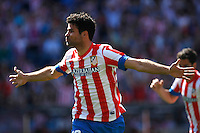 Atletico's Diego Costa celebrates goal during La Liga BBVA match. April 14, 2013.(ALTERPHOTOS/Alconada)
