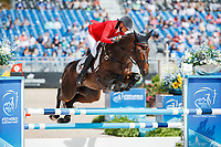 BEL-Karin Donckers rides Fletcha Van't Verahof during the Showjumping for the FEI World Team and Individual Eventing Championship. 2018 FEI World Equestrian Games Tryon. Monday 17 September. Copyright Photo: Libby Law Photography
