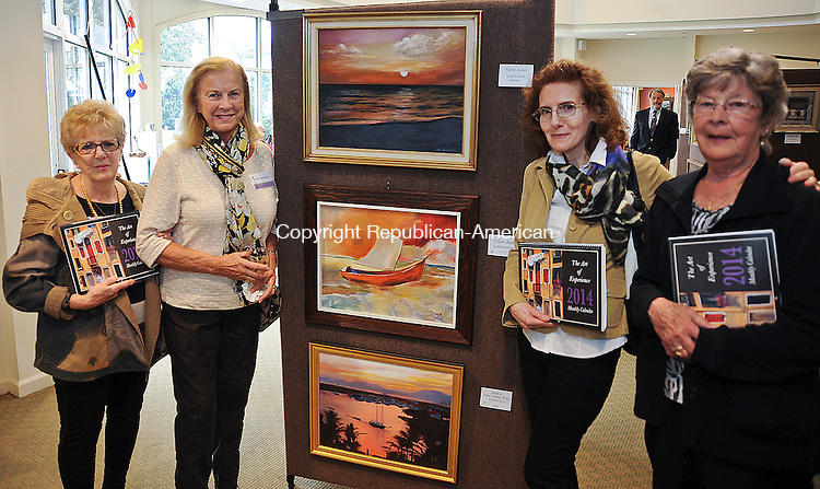 SOUTHBURY, CT 27 SEPTEMBER 2013--092713JS07- Helen Hale-Tito of Woodbury, Marie Mazzapalupo of Waterbury; Janet Ritucci of Middlebury and Annette Rickertsen of Woodbury at the 6th annual Connecticut Senior Juried Art Show at Pomperaug Woods in Southbury. The show features artwork by Connecticut artists, all of whom are 70 years old and older. <br /> Jim Shannon Republican American
