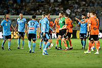 31st January 2020; Netstrata Jubilee Stadium, Sydney, New South Wales, Australia; A League Football, Sydney FC versus Brisbane Roar; the referee controls the situation as Rhyan Grant of Sydney and Tom Aldred of Brisbane Roar argue about a tackle