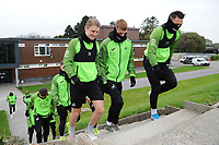 (L-R) George Byers, Jay Fulton and Connor Roberts of Swansea City during the Swansea City Training at The Fairwood Training Ground in Swansea, Wales, UK. Wednesday 30 October  2019