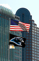 09/16/07 :  The American and Carolina Panthers flags flap in the wind outside Bank of America stadium. ...The Carolina Panthers, professional American NFL football team that represents both North Carolina and South Carolina, is based in Charlotte, North Carolina. The Panthers began playing in 1995 as part of the National Football League?s expansion program. They are members of the National Football Conference (NFC) South Division. They play in the Bank of America Stadium, located in downtown Charlotte.