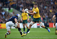 Rob Simmons of Australia in possession. Rugby World Cup Quarter Final between Australia and Scotland on October 18, 2015 at Twickenham Stadium in London, England. Photo by: Patrick Khachfe / Onside Images