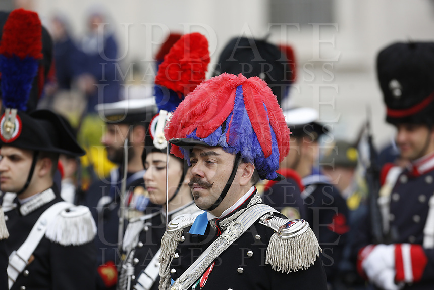 Italian Carabinieri wearing high uniform line up as they wait for Pope Francis to preside over Easter Mass in St. Peter's Square at the Vatican, April 21, 2019.<br /> UPDATE IMAGES PRESS/Riccardo De Luca<br /> <br /> STRICTLY ONLY FOR EDITORIAL USE