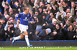 Phil Neville of Everton celebrates scoring the opening goal during the Premier League match at Goodison Park  Stadium, Liverpool. Picture date 27th April 2008. Picture credit should read: Simon Bellis/Sportimage