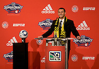 Dilly Dika of Rutgers speaks after being the eighth overall pick of  the MLS Superdraft by the Philadephia Union at the Pennsylvania Convention Center in Philadelphia, PA.