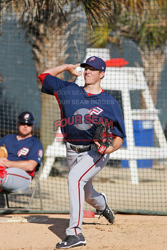 Potomac Nationals pitcher Nick Pivetta (40) warming up in the bullpen before a game against the Myrtle Beach Pelicans at Ticketreturn.com Field at Pelicans Ballpark on May 24, 2015 in Myrtle Beach, South Carolina.  Potomac defeated Myrtle Beach 1-0. (Robert Gurganus/Four Seam Images)