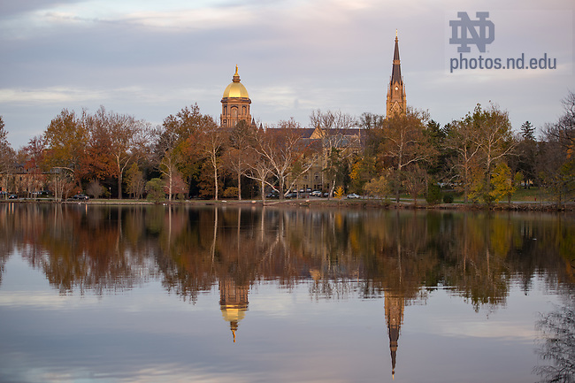 November 14, 2016; The Golden Dome and Basilica of the Sacred Heart's steeple behind St. Mary's Lake.  (Photo by Barbara Johnston/University of Notre Dame)