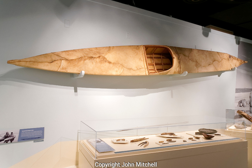 Traditional Inuit kayak and other Inuit artifacts exhibit, Vancouver Maritime Museum, Vancouver, BC, Canada