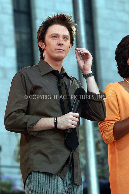 "July 2, 2004- Clay Aiken performs on ""Good Morning America"" in New York City.."