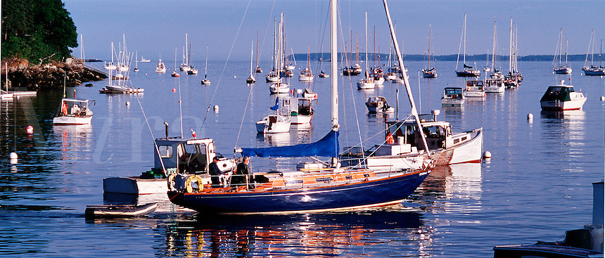 Boats anchored in Rockport Harbor. Rockport, Maine.