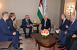 Palestinian President Mahmoud Abbas, meets with President of the European Investment Bank in New York, United States on September 22, 2019. Photo by Thaer Ganaim