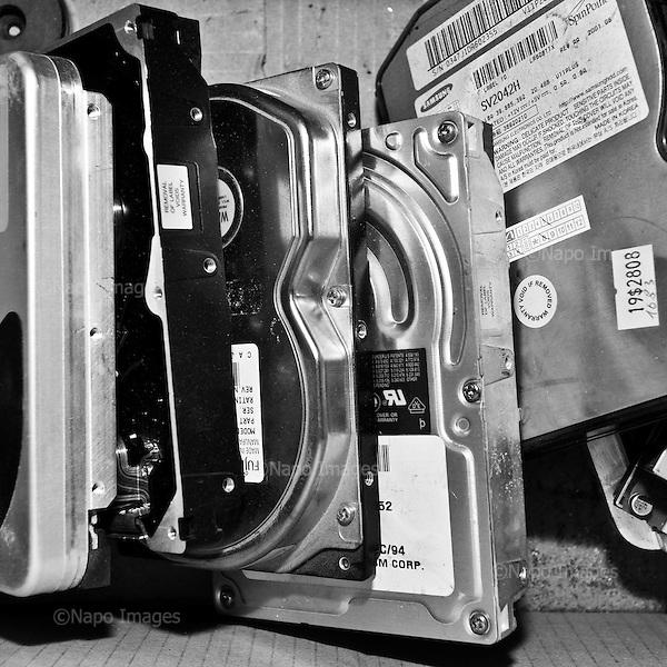 """WARSAW, POLAND, MARCH 2012:.Electronic waste at """"Serwisownia"""", a recycling company..(Photo by Piotr Malecki / Napo Images)...Warszawa, Styczen 2012:.Posortowane odpady elektroniczne w firmie """"Serwisownia""""..Fot: Piotr Malecki / Napo Images"""