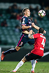 Nicola Komazec of SC Kitchee (l) heads the ball during the 2017 Lunar New Year Cup match between SC Kitchee (HKG) vs Muangthong United (THA) on January 28, 2017 in Hong Kong, Hong Kong. Photo by Marcio Rodrigo Machado/Power Sport Images