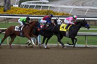Pink Lollipops and Joe Talamo win the first race at Santa Anita Park in Arcadia, California on October 20, 2012.
