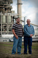 Bill Kent (cq), Production Superintendent, at the Big Brown Power Plant, with his son Chad Kent (cq), who works as a Plant Operator at Oak Grove Power Plant at the Big Brown Power Plant in Texas, USA, Thursday, Oct. 8, 2009. Jaci Postell (cq), Administrative Assistance, Oak Grove with her husband Michael Postell (cq), Mechanic, Kosse Mine, Terry Jaggers, Mechanic, Winfield South Mine (Jaci's father), Bruce Case, Operations Manager, Three Oaks Mine (Jaci's uncle), Henry Postell, Heavy Equipment Project Manager, Kosse Mine (Jaci's father-in-law) in Texas, USA, Thursday, Oct. 8, 2009.