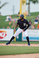 Detroit Tigers pinch runner Ronny Rodriguez (60) leads off first base during a Grapefruit League Spring Training game against the New York Yankees on February 27, 2019 at Publix Field at Joker Marchant Stadium in Lakeland, Florida.  Yankees defeated the Tigers 10-4 as the game was called after the sixth inning due to rain.  (Mike Janes/Four Seam Images)