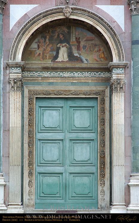 Triumphal Main Portal Medici Frieze Rucellai Arms Dominican Fresco 1616 Santa Maria Novella Florence