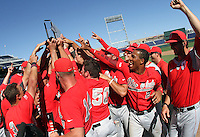 Ohio State celebrates after winning the Big Ten Tournament at TD Ameritrade Park in Omaha, Neb. on May 29, 2016. (Photo by Michelle Bishop)