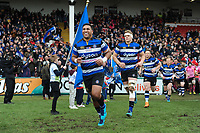 Cooper Vuna and the rest of the Bath Rugby team run onto the field. Anglo-Welsh Cup Final, between Bath Rugby and Exeter Chiefs on March 30, 2018 at Kingsholm Stadium in Gloucester, England. Photo by: Patrick Khachfe / Onside Images