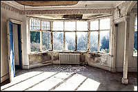 BNPS.co.uk (01202 558833)<br /> Pic: SteppingStones/BNPS<br /> <br /> The library area before restoration.<br /> <br /> Much like his famous fictional detective, Sir Arthur Conan Doyle's former home has been brought back from the dead.<br /> <br /> Undershaw, the home the author helped design, fell into disrepair after the hotel which ran there for 80 years closed in 2004 but in a resurrection worthy of Sherlock Holmes himself the derelict landmark has been restored to its former glory.<br /> <br /> The building is now part of Stepping Stones, a special needs school in Hindhead, Surrey, and has been nominated for a heritage award.