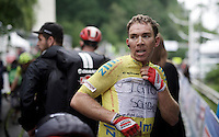 Race leader Sean De Bie (BEL/Lotto-Soudal) after finishing stage 4 where he lost the lead to Sep Vanmarcke (BEL/LottoNL-Jumbo)<br /> Check his 'team-logo' on his yellow leaders jersey...<br /> <br /> stage 4: Hotel Verviers - La Gileppe (Jalhay/BEL) 186km <br /> 30th Ster ZLM Toer 2016
