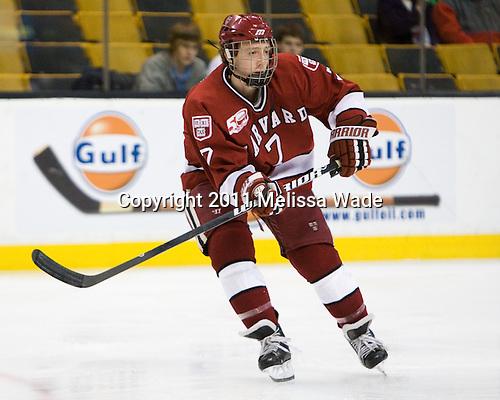 Danny Fick (Harvard - 7) - The Northeastern University Huskies defeated the Harvard University Crimson 4-0 in their Beanpot opener on Monday, February 7, 2011, at TD Garden in Boston, Massachusetts.
