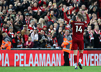 27th October 2019; Anfield, Liverpool, Merseyside, England; English Premier League Football, Liverpool versus Tottenham Hotspur; Jordan Henderson of Liverpool acknowledges the applause of supporters after the final whistle - Strictly Editorial Use Only. No use with unauthorized audio, video, data, fixture lists, club/league logos or 'live' services. Online in-match use limited to 120 images, no video emulation. No use in betting, games or single club/league/player publications