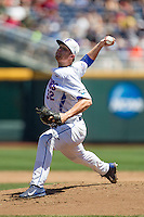 Florida Gators pitcher Logan Shore (32) delivers a pitch to the plate against the Virginia Cavaliers in Game 11 of the NCAA College World Series on June 19, 2015 at TD Ameritrade Park in Omaha, Nebraska. The Gators defeated Virginia 10-5. (Andrew Woolley/Four Seam Images)