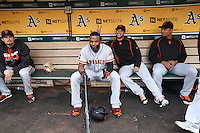 OAKLAND, CA - JUNE 29:  Denard Span #2 and Gregor Blanco #7 of the San Francisco Giants sit in the dugout before the game against the Oakland Athletics at the Oakland Coliseum on Wednesday, June 29, 2016 in Oakland, California. Photo by Brad Mangin