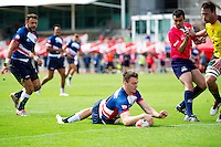 Thomas James of Great Britain scores a try. FISU World University Championship Rugby Sevens Men's Cup Final between Australia and Great Britain on July 9, 2016 at the Swansea University International Sports Village in Swansea, Wales. Photo by: Patrick Khachfe / Onside Images