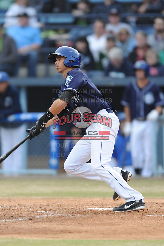 Asheville Tourists second baseman Alec Mehrten #7 swings at a pitch during a game against the Delmarva Shorebirds at McCormick Field on April 5, 2014 in Asheville, North Carolina. The Tourists defeated the Shorebirds 5-3. (Tony Farlow/Four Seam Images)