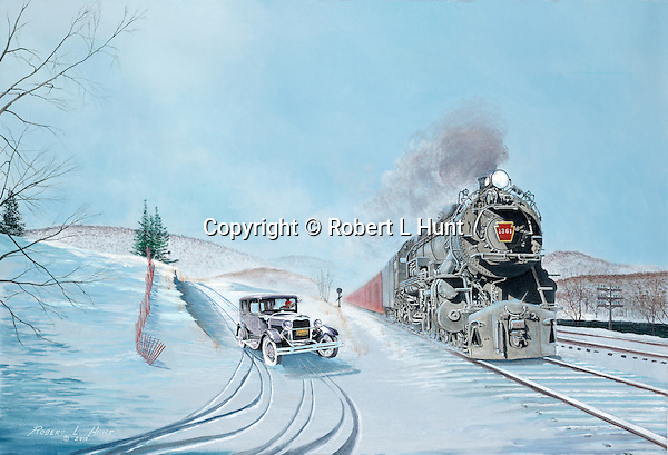 """Pennsylvania Railroad K4 steam locomotive meets a Ford Model T car at a grade crossing in a winter landscape. Oil on canvas, 18"""" x 26""""."""