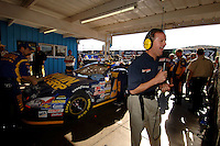 Nov 13, 2005; Phoenix, Ariz, USA;  Nascar driver Kenny Wallace announces on tv that he would be driving the #97 Irwin Ford of Jack Roush Racing after 2004 Nextel Cup Champion Kurt Busch was pulled from the car for the remainder of the season after being arrested for wreckless driving Friday night in nearby Avondale, Ariz. Wallace was notified hours before the race that he would be driving in the Checker Auto Parts 500 at Phoenix International Raceway. Mandatory Credit: Photo By Mark J. Rebilas