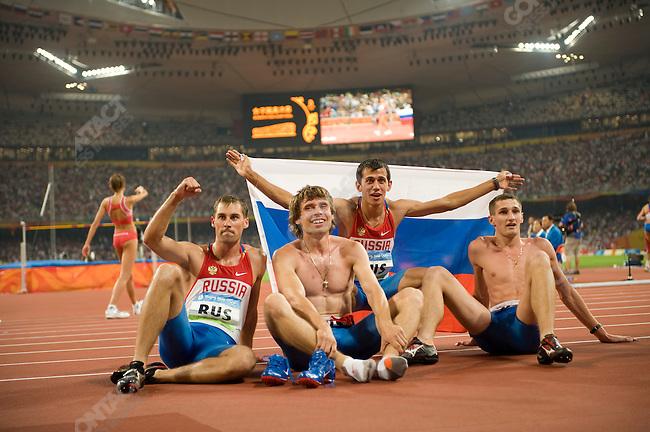 Men's 4x400m Relay final, Russia - bronze, National Stadium, Summer Olympics, Beijing, China, August 23, 2008