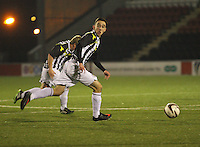 Anton Brady looking for a pass in the St Mirren v Dunfermline Athletic Scottish Professional Football League Under 20 match played at the Excelsior Stadium, Airdrie on 11.12.13.