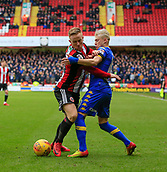 10th February 2018, Bramall Lane, Sheffield, England; EFL Championship football, Sheffield United versus Leeds United; Mark Duffy of Sheffield United and Ezgjan Alioski of Leeds United challenge for the ball