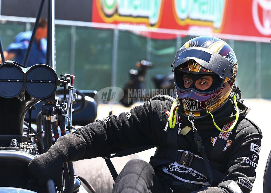 Jul. 28, 2013; Sonoma, CA, USA: NHRA top fuel dragster driver Khalid Albalooshi during the Sonoma Nationals at Sonoma Raceway. Mandatory Credit: Mark J. Rebilas-
