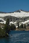 Summer snowfield on mountains above Heather Lake, Desolation Wilderness, El Dorado National Forest, California