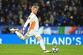 18th March 2018, King Power Stadium, Leicester, England; FA Cup football, quarter final, Leicester City versus Chelsea; Kasper Schmeichel of Leicester City clears the ball upfield to start an attack