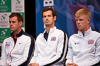 Gent, Belgium, November 26, 2015, Tennis, Davis Cup Final, Belgium-Great Britain, draw ceremonie, Ltr: Captain Leon Smith, Andy Murray and Kyle Edmund<br /> Photo: Tennisimages/Henk Koster