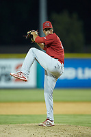 Johnson City Cardinals relief pitcher Mike Brettell (26) in action against the Burlington Royals at Burlington Athletic Stadium on July 15, 2018 in Burlington, North Carolina. The Cardinals defeated the Royals 7-6.  (Brian Westerholt/Four Seam Images)