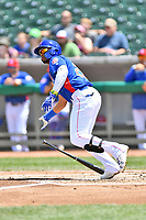 Tennessee Smokies right fielder Eddy Martinez (20) swings at a pitch during a game against the Birmingham Barons at Smokies Stadium on May 6, 2018 in Kodak, Tennessee. The Smokies defeated the Barons 6-2. (Tony Farlow/Four Seam Images)