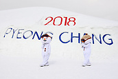 February 17th, 2017; PYEONGCHANG, South Korea; Snowmen in front of a giant snow sculpture  in Pyeong Chang, Gangwon Province of South Korea during the Daegwallyeong Snow Festival
