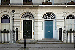 Doorways in Fitzroy Square, Bloomsbury, London England UK