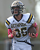 Liam Colwell #35 of Bethpage races downfield during a Nassau County Conference III varsity football game against host Lawrence High School on Saturday, Oct. 7, 2017.